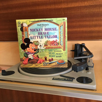 Vintage 1968 The Story of Mickey Mouse, Brave Little Tailor by Disneyland Records - Story Book and Vinyl Record / Walt Disney Productions