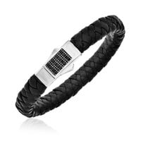 Sterling Silver Black Sapphire Accented Woven Leather Bracelet