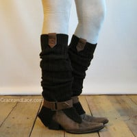 The Britain Buckle Leg warmer -Brown Ribbed legwarmer with black tabs and buckle - boot socks (item no. 4-3)