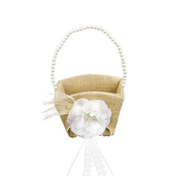 Vintage Pearl Ribbon Flower Decorated Burlap Flower Gril Basket