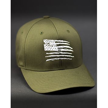 Old Glory - Structured Curved Bill Flexfit Hat - Olive Drab Green
