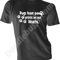 Pugs Leave Paw Prints pink black white purple unisex adult tshirt, animal lover gift idea him her, hearts pugs paws love puppies, pug shirt