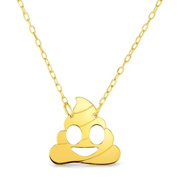 14k Yellow Gold Poop Emoji Necklace, 16""