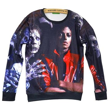 Unisex Swag 3D Sweater Michael Jackson Thriller Sweatshirt T Shirts (L)
