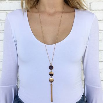 Purple Stone Fringe Necklace