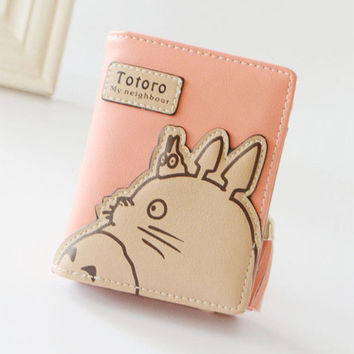 New Fashion Korean Women Wallet Cartoon Animation Small Leather Wallet Cute Totoro Tassels Zipper Clutch Coin Purse Card Holder