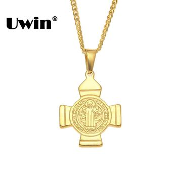 Uwin Benedict Badge Exorcism Religion Pendants & Chains Jewelry Women Mens Stainless Steel Christian Holy Bible Gold Necklaces