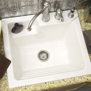 CorStone Industries 12-3-8-00 White Single-Basin Acrylic Laundry Sink (Clearance Priced)