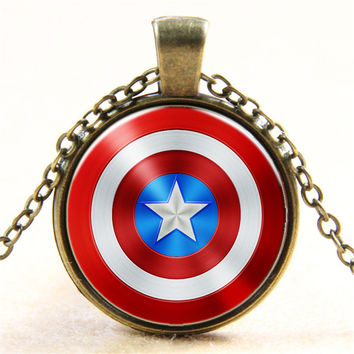 Steven 'Steve' Rogers The Captain America Shield Necklace Glass Dome Cabochon Necklaces Cool Pendant Necklace Jewelry Gift