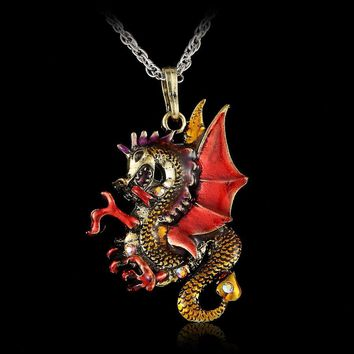 Crystal Vintage Dragon necklace for Women Jewelry Gothic Antique Animal Necklace Pendant Long Necklace epacket drop shipping