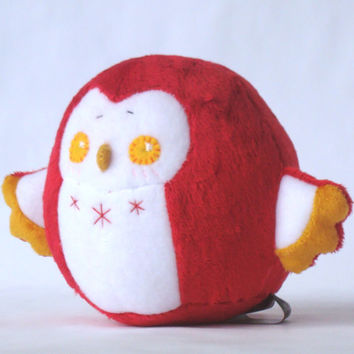 Red Chubby Owl Squishy Plush Doll