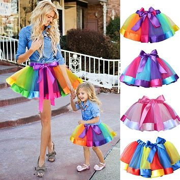 Mommy and Me Summer Rainbow Tutu Skirt Party Matching Outfits