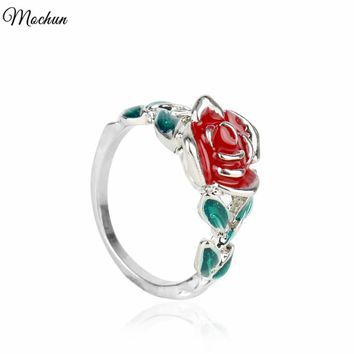 MQCHUN Beauty and the Beast Rings Hot Movie Fashion Red Rose Flower Green Leaf Ring For Women Gift Jewelry Party Christmas Gifts