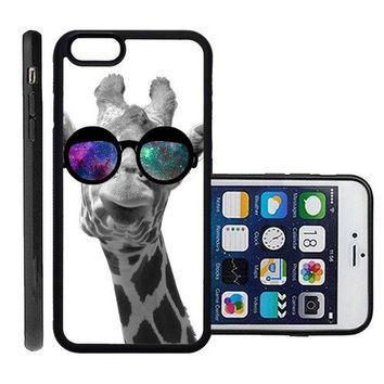 RCGrafix Brand Giraffe Geek Space Hipster Galaxy Apple Iphone 6 Plus Protective Cell Phone Case Cover - Fits Apple Iphone 6 Plus