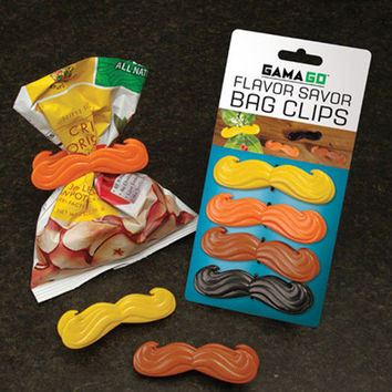 NEW Flavor Savers Mustache Chip Clips - Set of 4