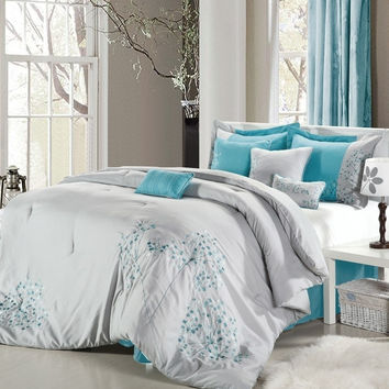 12pc P. Flor Grey/Turquoise Luxury Size: King Sheet Set Color: Silver-Grey