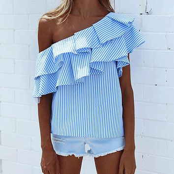 Fashion Women T-shirt Summer Loose Cotton Striped Ruffles Sexy Ladies Top Short Sleeve Womens Clothing Casual Female T-Shirt