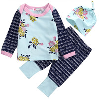 2016kids baby Girls Floral Striped clothing sets Newborn Infant Baby Girls Top T Shirt+Pants+Beanie Hat Legging 3pcs Outfits Set