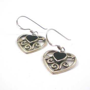 Heart  Earrings , Sterling Silver Earrings ,  Onyx Earrings , Black Earrings, Pierced Earrings , Valentine's Day Jewelry For Her
