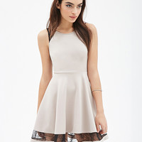 Sheer Mesh Lace Cutout Sleeveless Mini Skater Dress