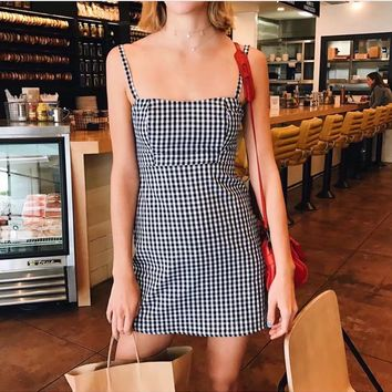 2018 New Small Squares Condole Belt Sexy Mini Bodycon Dress
