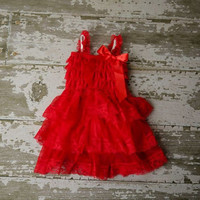 DELUXE RED Flower Girl Dress - Baby Petti Dress Rustic Country  Lace Tulle dress - Bridesmaid Flower girls dress Party, Christmas, Holiday