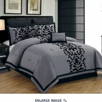 8 Piece Queen Dawson Black and Gray Comforter Set
