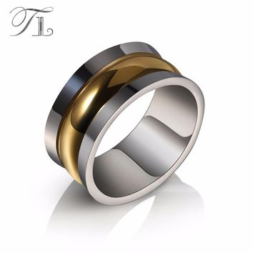 TL Anniversary Special Offer Stainless Steel Smooth Men Rings Gold Color Three Layers Stereoscopic Design Halo Rings Men Jewelry