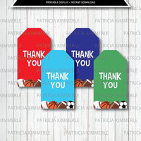 Printable Thank You Tags, Sports Theme, Birthday, Party Decorations, DIY, Team, All Star, Baby Shower, Favor Tags, Loot Bag Tag