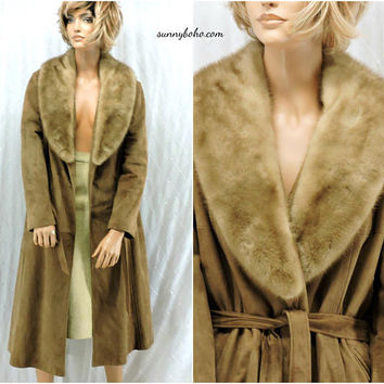 Vintage 60s long leather / mink coat / S / M / 1960s full length taupe leather coat / New England USA /  SunnyBohoVintage