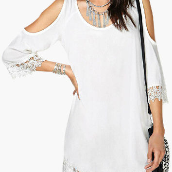 White Cut-Out Shoulder V-Cut Back with Crochet Lace Accent Mini Dress