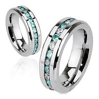 Aqua Paragon - Glowing Stainless Steel Ring with Embedded Aquamarine and Crystal Cubic Zirconias