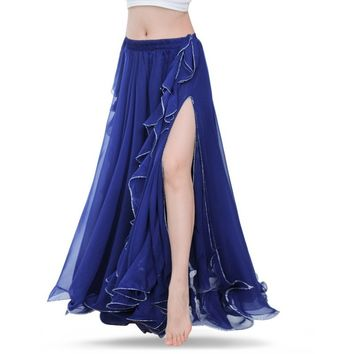 2016 New Women Indian Belly Dance Costume 2 Layers Slit Skirt Dresses 12 Colors