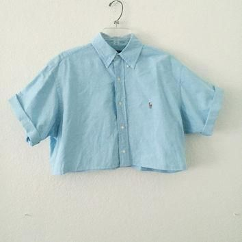 Reworked Ralph Lauren Pastel Blue Collared Crop Top