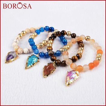 BOROSA Exclusive Gold Color Roungh Multi-Kind Stones & Quartz Arrowhead Bracelet with 8mm Stones Beads G750