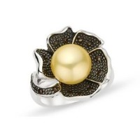 9.5-10mm Gold Freshwater Pearl  Smokey Quartz Sterling Silver Ring w/ Black Rhodium