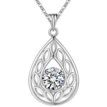 ON SALE - Ornate Pear Drop CZ Sterling Silver Necklace