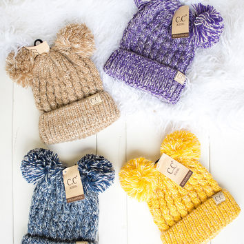 I Love You Beary Much Two Toned Knit Double Pom Kids Beanie