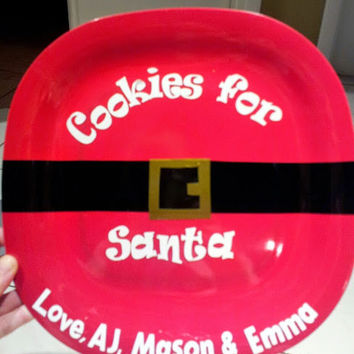 Cookies for Santa Plate, Holiday Custom Plates, Milk for Santa, Cookies & Milk for Santa Combo Set