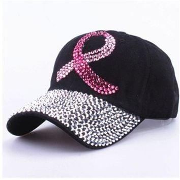 Adjustable Bling Women Men  Rhinestone Studded Baseball Hat Sun Cap