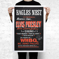 Rare Elvis Presley 1954 Eagles Nest Large Wall Art Print Poster - A2