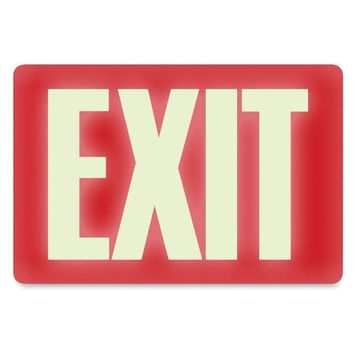 "u.s. stamp & sign glow in the dark ""exit"" sign, 12""x8"", white/red Case of 7"