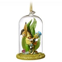 Disney 2018 Jiminy Cricket Glass Dome Sketchbook Christmas Ornament New with Tag
