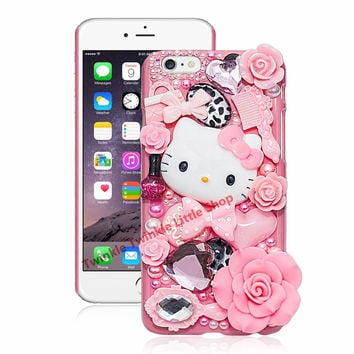 Cute Hello Kitty Crystal Pearl 3D Case For iPhone Back Cover Pho 3b5bd27a3