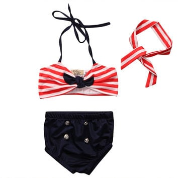Toddler Girl Kids Swimwear Stripe Bikini Swimming Costume Bodysuit Swimsuit 3PCS
