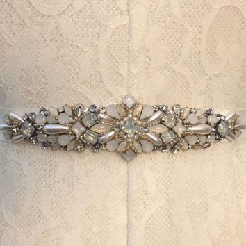 Ivory, Crystal, Opal, and Pearl Vintage Inspired Jewel Embellished Grosgrain Ribbon Bridal Belt Sash