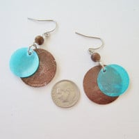 Vintage 80s Beach Boho Thin Shell Disc Turquoise Blue Brown Faux Wood Wooden Bead Beaded Dangle Earrings