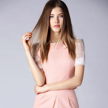 Baby Pink Eyelet Top and Skirt Set