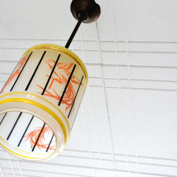 Vintage glass French chandelier, 70's, retro ceiling light, bird in a cage