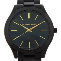mk3221 slim runway black-tone stainless steel bracelet watch by michael kors